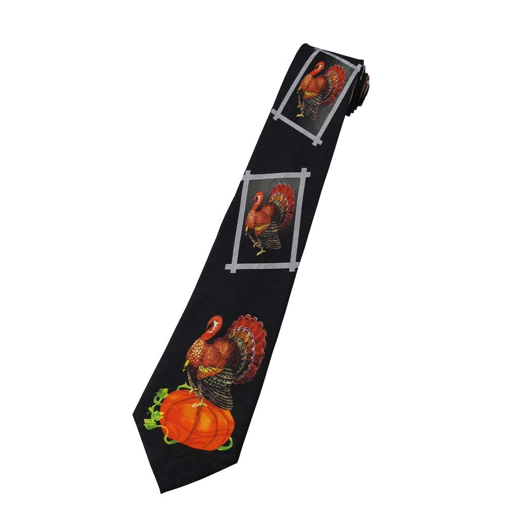 Mens Portrait Turkey Pumpkin Fall Autumn November Happy Thanksgiving Regular Length Neck Tie