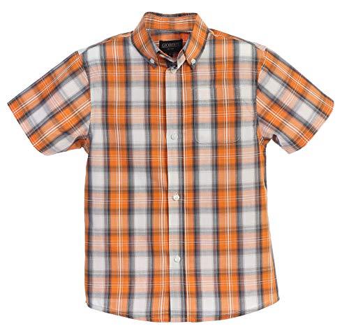 Gioberti Little Boys Plaid Short Sleeve Shirt, Orange/Gray/White Gradient, Size 10