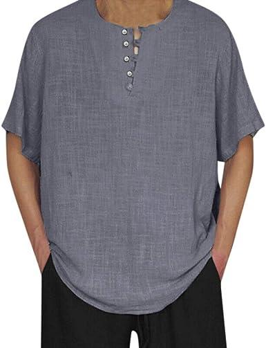 Overdose Lino De Los Hombres Color Sólido Manga Corta Camisetas Retro Tops Blusa Holgada Camisetas Hombres Boda Verano Fiesta Vestir: Amazon.es: Ropa y accesorios