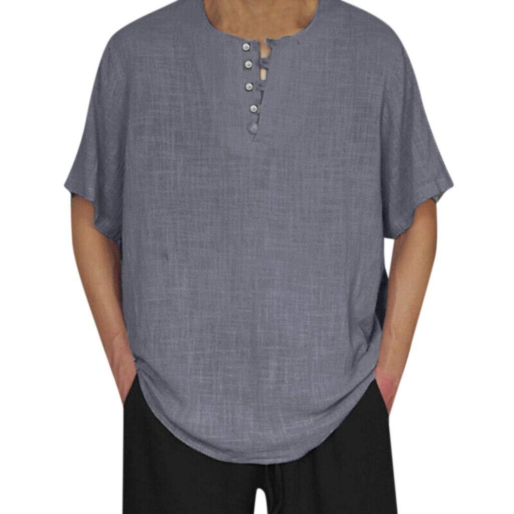 XQXCL Men's Baggy Cotton Linen Solid Color Button Short Sleeve Retro T-Shirts Blouse Blue