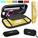 Carrying Case for Nintendo Switch Lite with 2 Pack Screen Protector, iVoler Ultra Slim Portable Hard Shell Pouch Travel Game Bag for Switch Lite Console Accessories Holds 10 Game Cards,Black