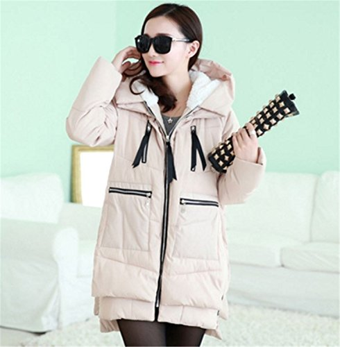 Feilongzaitianba Winter Jacket Women Military Coats Plus Size Cotton Hooded Parkas For Women Winter Coat Mujer Z008 Beige M by Feilongzaitianba