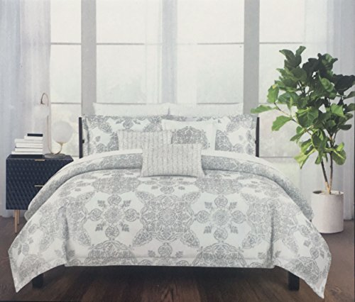 Tahari Bedding 3 Piece Full / Queen Size Luxury Cotton Duvet Cover Set Geometric Floral Medallion Pattern in Silver Metallic Gray on White - Metallic Queen Size Bed