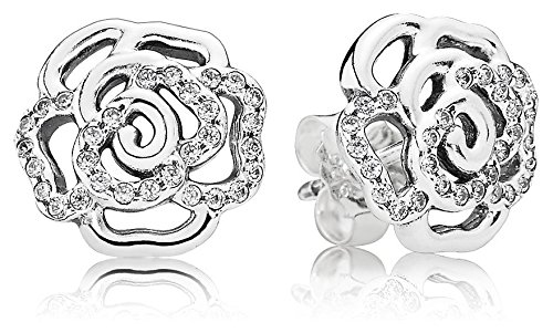 PANDORA Earrings Shimmering Rose with Clear CZ 290575CZ
