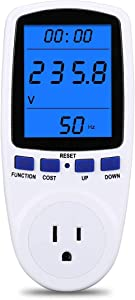 Upgraded Brighter LCD Display Night Vision Power Meter Plug, Power Consumption Monitor Energy Voltage Amps Electricity Usage Monitor, Overload Protection, 7 Display Modes for Energy Saving, Watt Meter