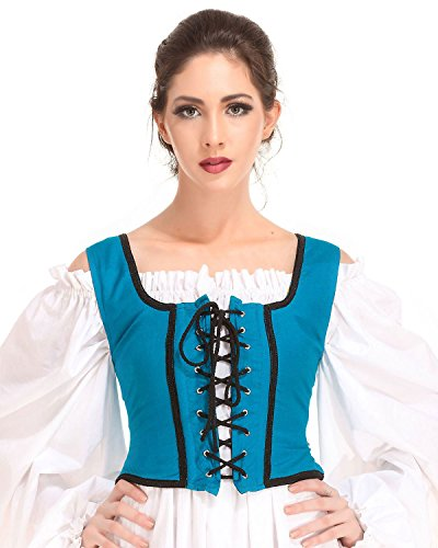 Pirate Wench Peasant Renaissance Medieval Costume Corset Bodice [Ocean] (X-Large)