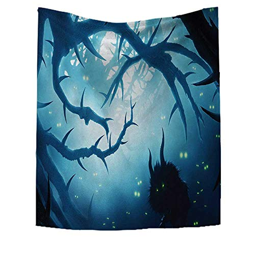 RuppertTextile Mystic Art Wall Decor Animal with Burning Eyes in The Dark Forest at Night Horror Halloween Illustration Customed Widened Tapestry 70W x 93L INCH Navy White ()