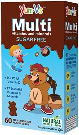 YumVs Sugar Free MultiVitamin Chewables for Kids, Milk Chocolate Flavor (60 Ct); Daily Dietary Supplement with Essential Vitamins & Minerals; Kosher, Halal, Gluten Free