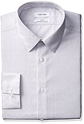 Calvin Klein Men's Non Iron Slim Fit Textured Stripe Point Collar Dress Shirt