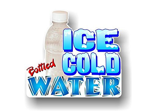 - 1 ICE COLD BOTTLED WATER 9'' Decal Concession Trailer Cart Grocery Gourmet Food Convenience Store Shop Counter Wall or Window Sticker ((1) 8.5