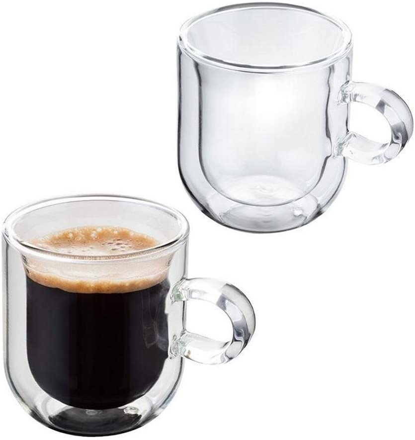 cmxing Double Wall Reusable Coffee Glasses Cups Insulated Cups Transparent Thermo Glass Cup Set Coffee Mugs for Espresso Cappuccino Latte(300ml)