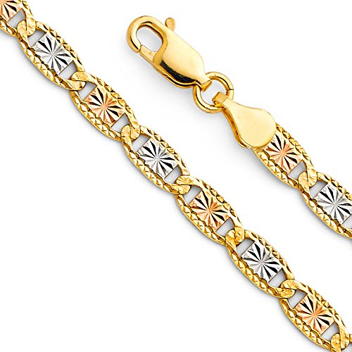 (14k Tri Color Gold Solid Men's 4mm Valentino Star/Edge Diamond Cut Chain Bracelet with Lobster Claw Clasp - 7.5