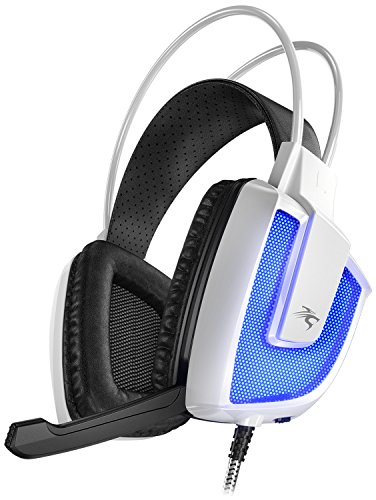 Sentey Gaming Headset Artix White GS-4560 EGS USB Microphone Computer Pc Skype Chat Inline Volume Control Led Light - Inline Control Retractable Microphone Pc Mac - Vibration Integrated Subwoofer