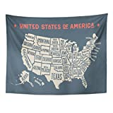 Emvency Tapestry Vintage Map of United States America with Names Black and White USA Geographic Themes Country Drawing Home Decor Wall Hanging for Living Room Bedroom Dorm 60x80 inches