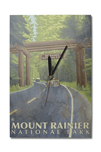 Lantern Press Mount Rainier, Washington - Nisqually Entrance (10x15 Wood Wall Clock, Decor Ready to Hang)
