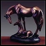 """Bronze Equestrian Mom & Baby Foal Horse Sculpture Statue Figurine 6""""w X 7""""h"""