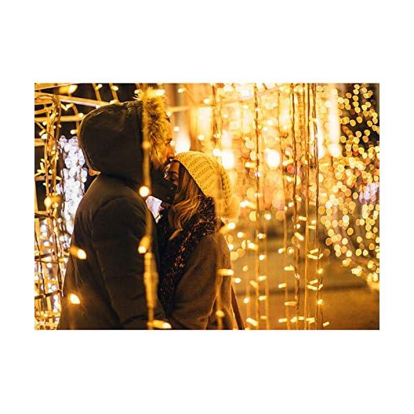 IDESION 600 LED 6M x 3M Tenda Luminosa Natale Esterno/Interno, Tenda Luci Natale IP65 con 8 Modalità di Illuminazione Natale Decorazioni Casa, Camera da Letto, Giardino- Luci LED Natale Bianco Caldo 6 spesavip