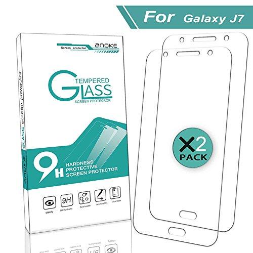 Galaxy J7 Glass Screen Protector,(J700 2015) [2 Pack] AnoKe(0.3mm 9H 2.5D) Best Tempered Glass Screen Protector Film Shield Guard for Samsung Galaxy J7,Glass 2Pack