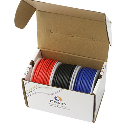 CBAZY™ Hook up Wire (Stranded Wire) 16 Gauge 1007 16AWG 13M (42 Feet) PVC Electrical Wire Red+Blue+Black
