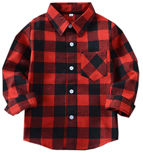 Boys' Shirt, Long Sleeve Button Down Plaid Flannel Shirt for Toddler Little & Big Boys, Red Black, US US 24M = Tag 90