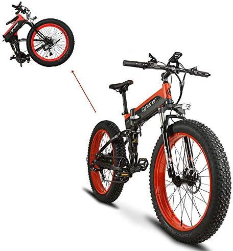 Extrbici Bicicleta Eléctrica Plegable XF690 500w 48v 10A Electrónica Grasa Neumática E Bicicleta Completa Suspensión 7 Velocidades Bicicleta Eléctrica (Rojo): Amazon.es: Deportes y aire libre