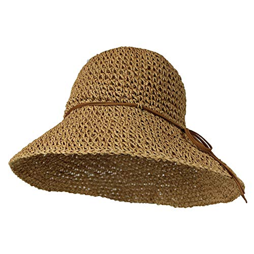 - Tan Packable Handwoven Crochet Straw Sun Hat w/ 4.5-inch Brim - Crushable Beach