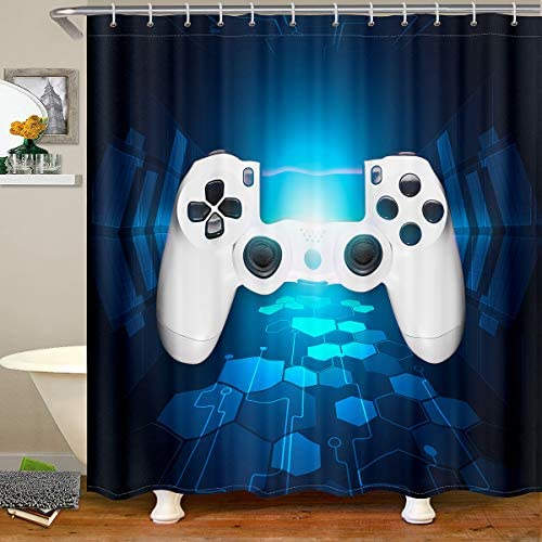 Teen Gaming Shower Curtain Gamer Gift for Boys Game Room Decor Kids Girls Youth Man Video Games Bath Curtain Chic White Gamepad Shower Curtains Set for Bathtubs Blue Honeycomb Heavy Duty,72″ W x 72″ H