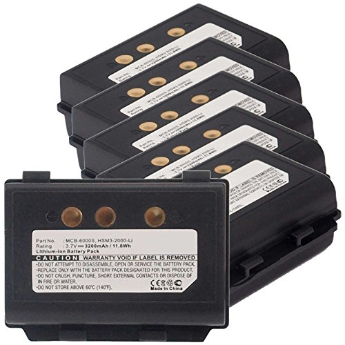 6x Exell EBS-MCB6000S Li-Ion 3.7V 3200mAh Batteries For M3 Mobile eTicket, Rugged. Replaces Cameron Sino CS-MCB600SL, M3 MOBILE HSM3-2000-Li, MCB-6000S by Exell Battery