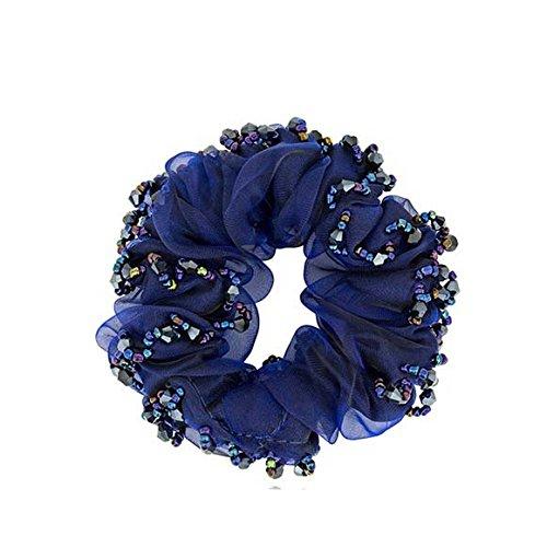 Blossom flower Floral Crystal Hair Elastic Satin Ribbon Rubber Band Women Hair Tie