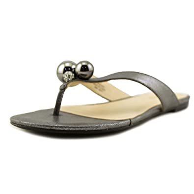 Nine West Womens Sanyah Open Toe Casual Pewter Sy Size 65