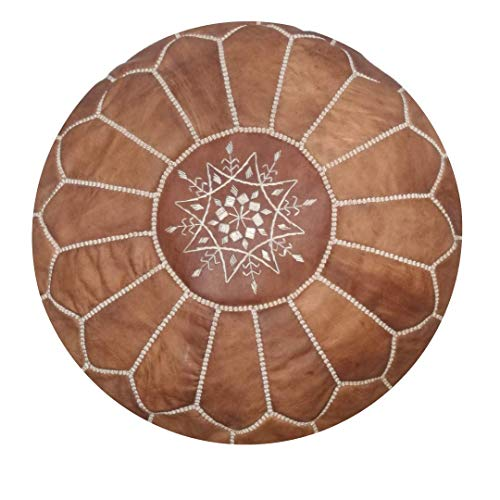Moroccan handmade leather pouf ottoman round footstool color Natural Unstuffed