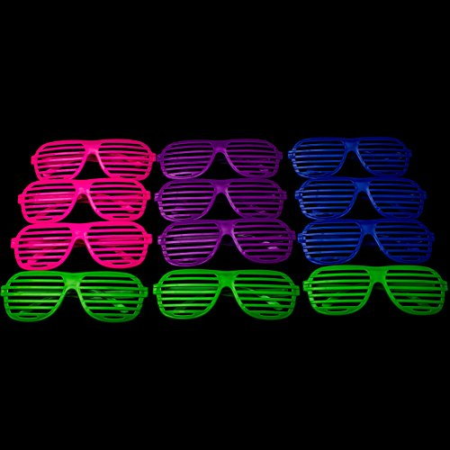 Fun Central AU110 Assorted 36ct - Novelty Toys, Party Sunglasses, Shutter Glasses, Shutter Shades, Bulk Party Sunglasses, Shutter Fun Sunglasses, Shutter Party Sunglasses - Assorted