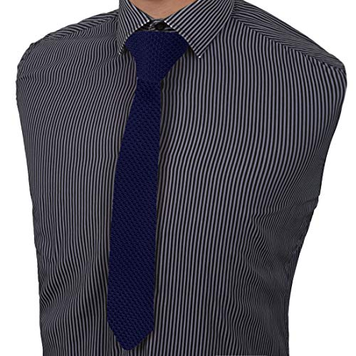 Dan Smith Mens Fashion Solid Knit Skinny Tie 2 Approx with Gift Box