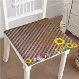 Antique Wooden Folding Deck Chairs Mikihome Premium Comfort Seat Cushion Antique Old Planks American Style Western Rustic Wooden and Sunflower, Flower, Grass Cushion for Office Chair Car Seat Cushion 16