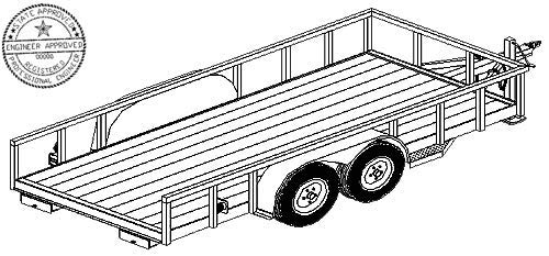 1216 Trailer Plan - 6'6'' x 16' Tandem Axle 7K Utility Lowboy Trailer DIY How-to Blueprint by Master Plans & Design