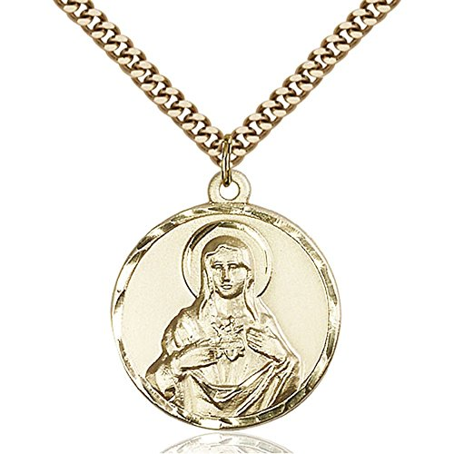 Gold Filled Men's IMMACULATE HEART of MARY Pendant - Includes 24 Inch Heavy Curb Chain - Deluxe Gift Box Included