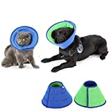 HenryDong Small Medium Dog Breathable Mesh Recovery Elizabethan Collar, Cat Soft Comfy Adjustable E-Collar, Double Side Blue Green Quicker Healing Pet Cone Soft Edges Anti-Bite/Lick for Cat/Dog/Rabbit