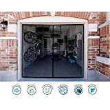 Garage Door Screen - Single Car 8x7Ft Magnetic Closure Heavy Duty Weighted Bottom Screen Self Sealing Fiberglass Mesh Retractable Net-Easy Assembly&Pass-Through(Black)