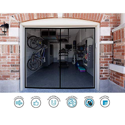 Garage Door Screen - Single Car 8x7Ft Magnetic Closure Heavy Duty Weighted Bottom Screen Self Sealing Fiberglass Mesh Retractable Net-Easy Assembly&Pass-Through(Black) (Patio Insect Magnetic Screen For Doors)