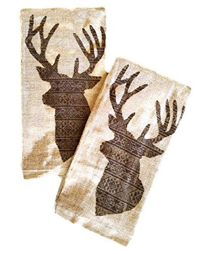 Deer Head Rustic Lodge Cotton Kitchen Towels Set of 2 ()