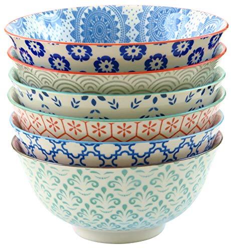 Gulee 24 Ounce Porcelain Bowls Set - Great for Cereal, Soup, Salad, Rice or Pasta - 6 Vibrant Designs - Large Capacity - Premium Heat and Cold Resistant Ceramic - Dishwasher and Microwave Safe - Microwave Safe Porcelain Bowls
