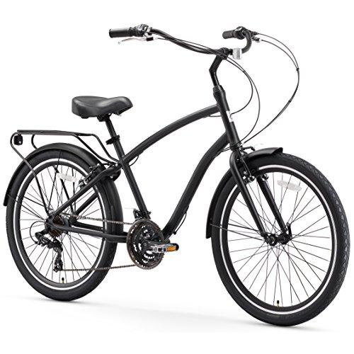 sixthreezero EVRYjourney Men's 21-Speed Hybrid Cruiser Bicycle, Matte Black w/Black Seat/Grips