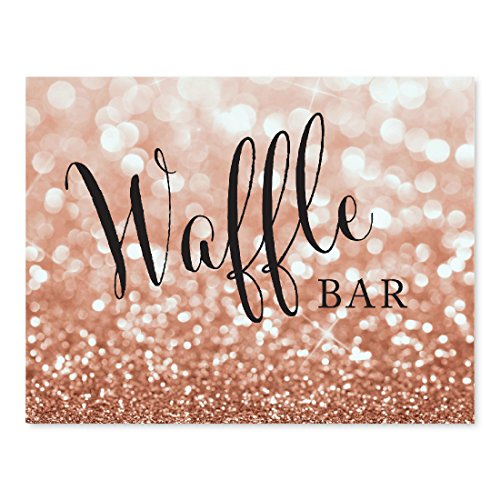(Andaz Press Wedding Party Signs, Glitzy Rose Gold Glitter, 8.5x11-inch, Waffle Bar Reception Dessert Table Sign, 1-Pack, Bokeh Colored Party Supplies)