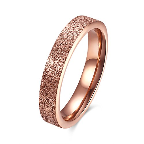 FJYOURIA Women's 4MM Rose Gold Plated Stainless Steel Rings Wendding Band Engagement Rings (7)