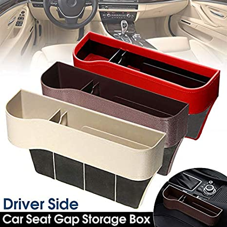 Car Seat Crevice Storage Box Cup Drink Holder Organizer Auto Stowing Large Capacity Storage Case Black Coffee and Red Beige PerGrate Car Drink Holder Organizer Auto Gap Stowing