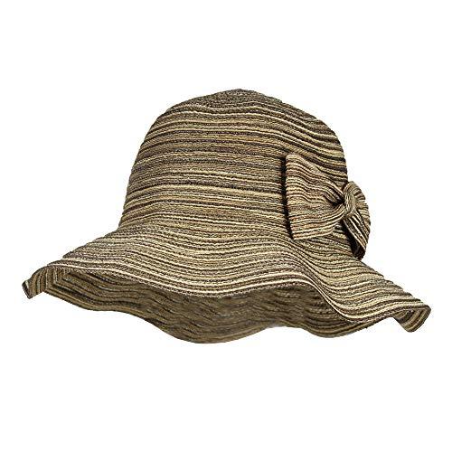 (Brown Waterproof Floppy Sun Hat w/UPF 50+ & Bow - Packable Crusher Rain)