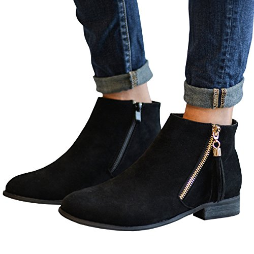 Pointed Fall black Low Toe Stacked Ankle Womens 2 Heel Boots Side Fashare Western Booties Zipper fAYUqA4w