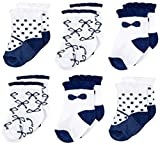 6 pair dressy cuff socks are an adorable addition to your baby's outfitMaterial: 90% Cotton, 7% Polyamide, 3% ElastaneSocks are soft and stretchable, but will stay on baby's feetPerfect for out and about or dressing up for special occasions W...