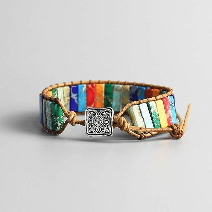 Women 7 Chakra Bracelet Natural Tube Stone Leather Wrap Bangle Jewellery Gift UK