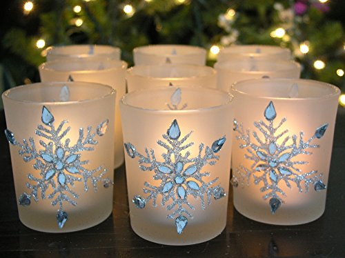 Snowflake Votive Candleholders with Flameless Flickering LED Candles 9 Frosted Glass Glittery Snowflakes with Jewels - 2-3/4